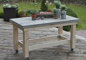 Build a work table with a concrete slab